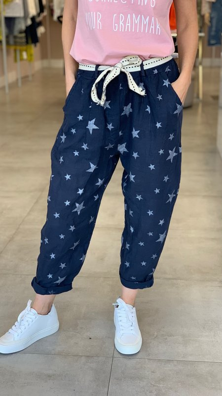 Lilly Star Detail Linen Pant