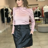 Maci Paperbag Waist Belted Leather skirt