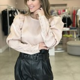 Val Iridescent Puffy Sleeves Top