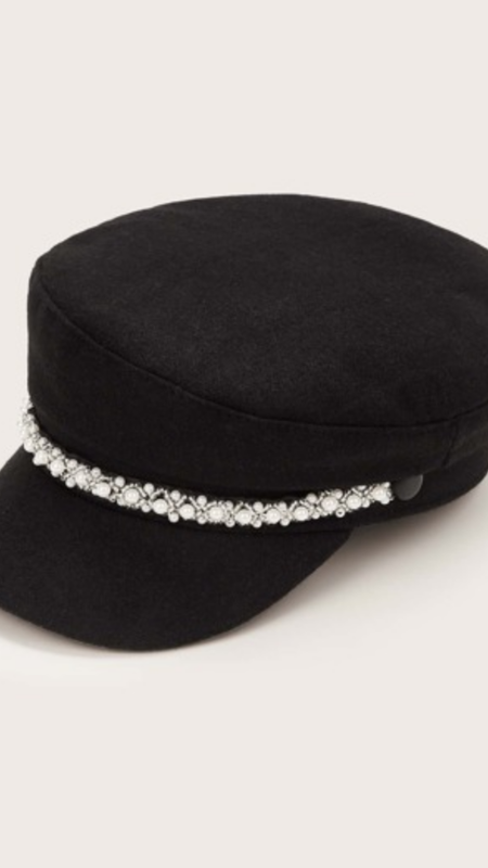 Archie Biker Hat With Pearl Details
