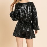Stellah Sequins Long Sleeve Romper