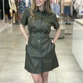 Alleandria Belted Faux-Leather Dress
