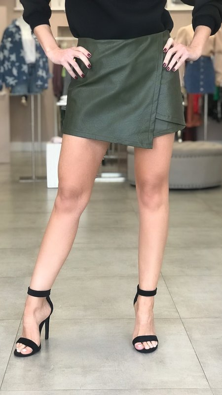 Alina Front Wrap faux-Leather Shorts