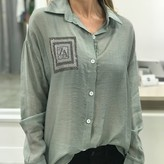 Harlow Boyfriend Blouse with Front Pocket
