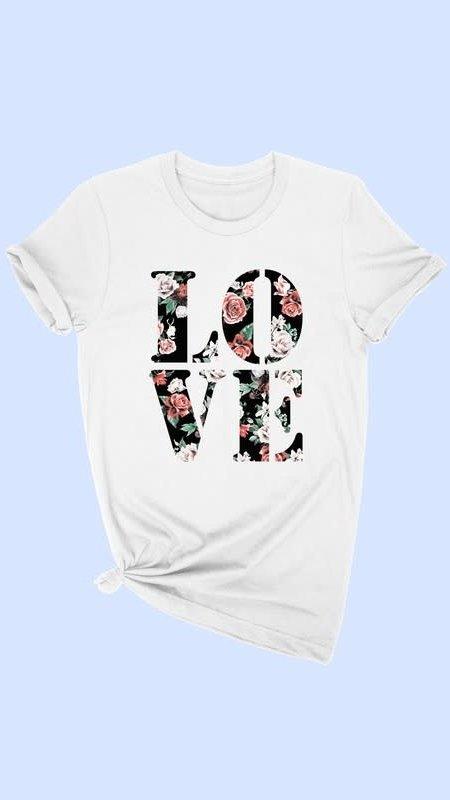 LOVE Flower Print Tee