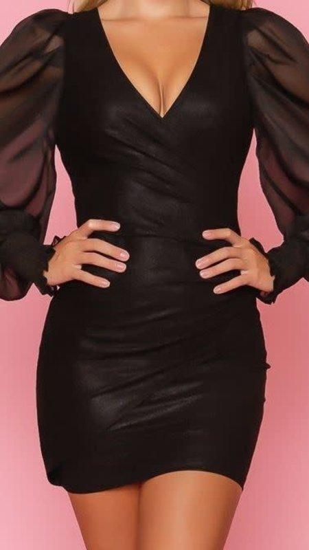 Cynthia Mini Dress With Mesh Sleeves