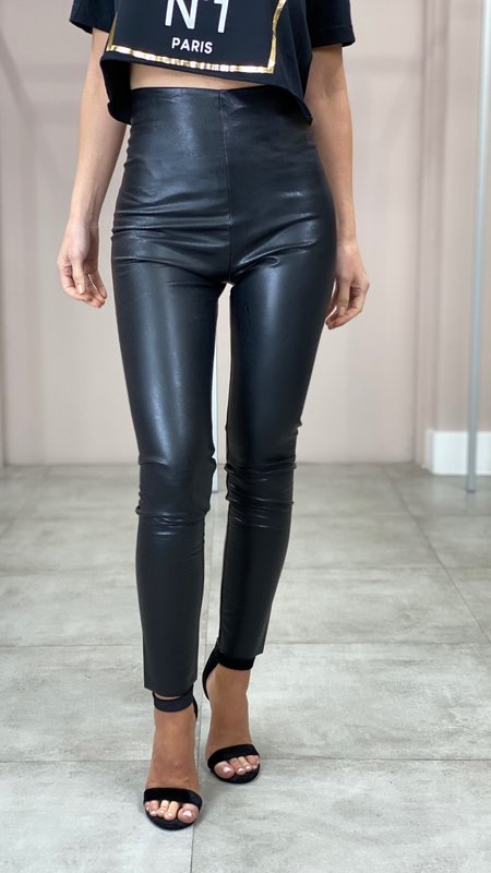 Maxine Vegan Leather High Waisted Leggins
