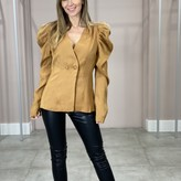 Bexley V Neck Puffy Shoulders Fitted Blazer Top