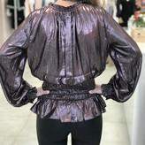 Esther Elastic Waist Long Sleeve Metalic Blouse