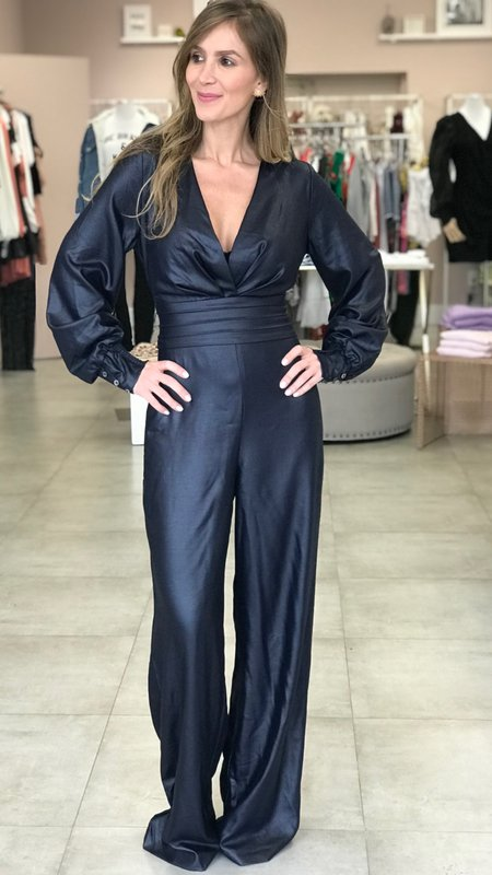 Remi Long Sleeve V- Neck Jumpsuit