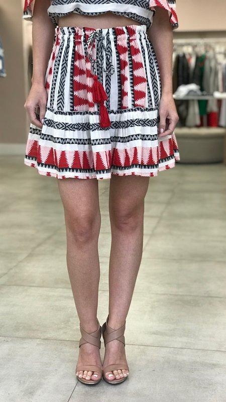 Hayley Aztec Print Ruffle Skirt