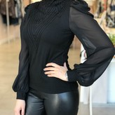 Desire High Neck Trimmed Blouse