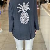 Lia Pineapple Detail Linen Top