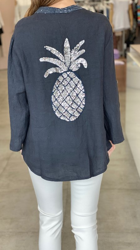 Lia Pineapple Detail Linen Top