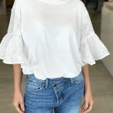 Alina Eyelet Bell Sleeve Top