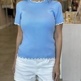 Celia Scallop Edge Short Sleeve Sweater
