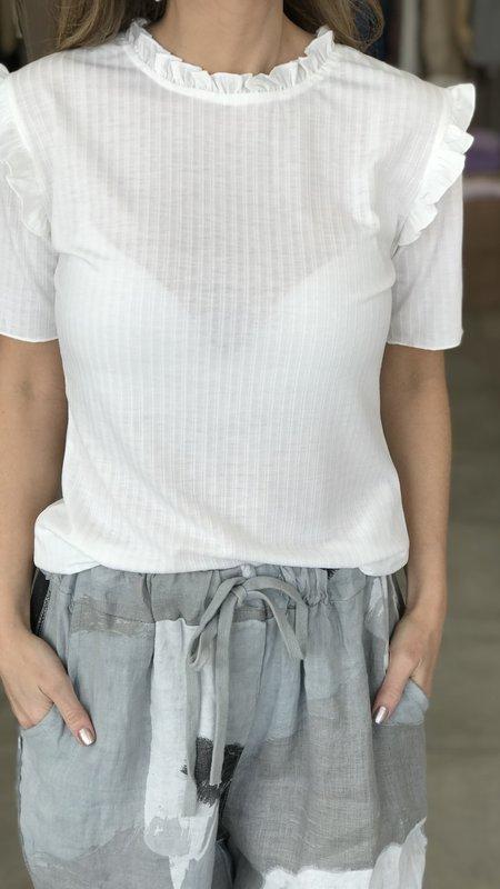 Erina Ruffle Collar Knit Top