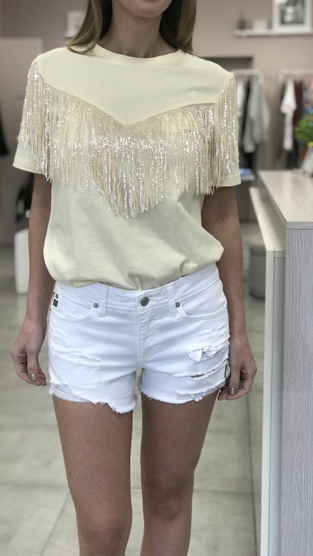 Tina Tee With Sequin Fringe