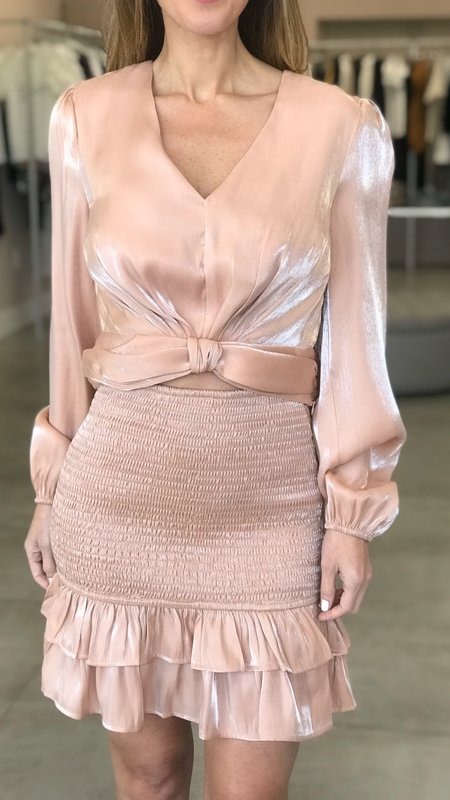 Fanny Metallic Smocking Mini Skirt