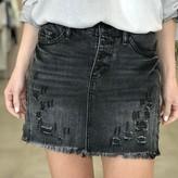 Lola Button Up Distressed Mini Skirt