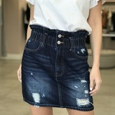 Cindy Paperbag Distressed Mini Skirt