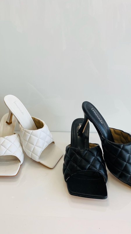 Samantha  Square Quilted Heeled Mules