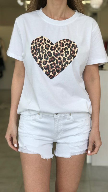 Rachel Heart-Leopard Detail T-Shirt