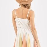 Jewel Sleeveless Colorful Pleated Mini Dress with Rope