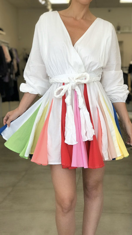 Dinie Long-Sleeve Colorful Pleated Dress