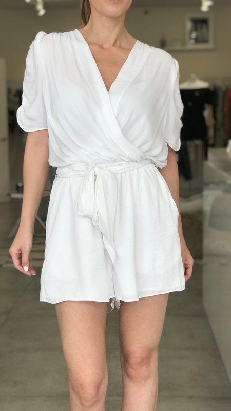 Catalina Short Ruched Sleeve Tie Waist Romper
