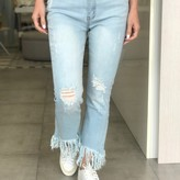 Zoe High Rise Distressed Flare Denim