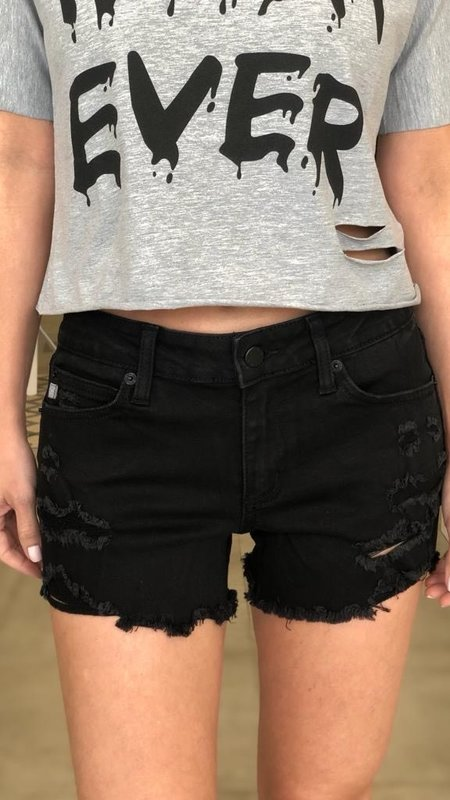 Jenny Mid Rise Distressed Shorts