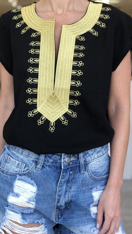 Orrie Short Sleeve Gold Detail Blouse