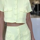 Mona Short Sleeve Button Down Crop  Top