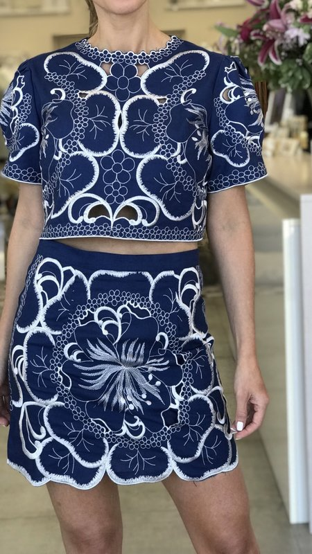 Lenore Embroidery Crop Top & Skort Set