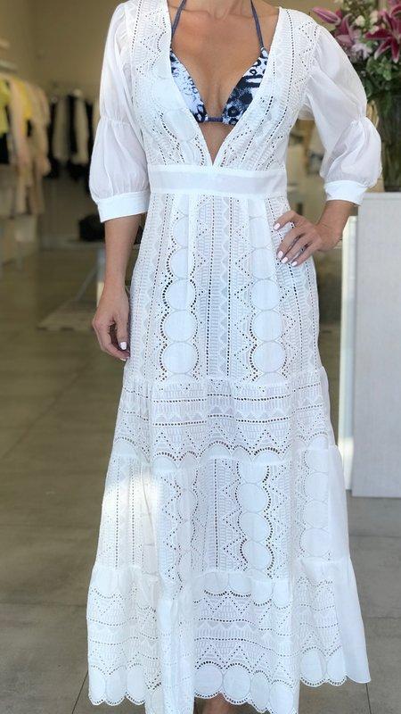 Lally V- Neck Lace Maxi Dress