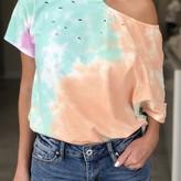 Dana One Shoulder Cut-out Tie-Dye T-shirt