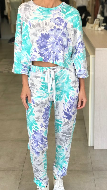 Enny French Terry Crop Top With Jogger Set