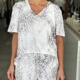 Ariana Tie-Dye V-neck Leopard Print Top