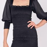 Roxan Square Neck Smocked Satin Dress