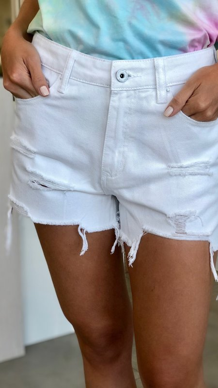 Lorie High Rise Shorts With Raw Hem
