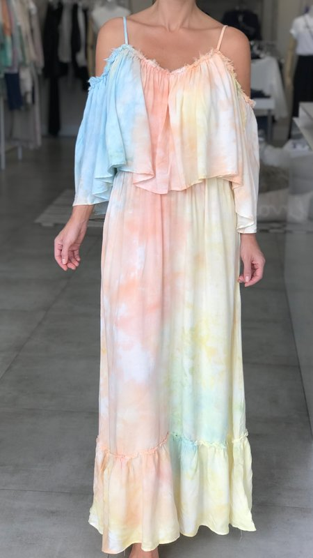Kendall Tie-Dye Cold Shoulder Ruffle Maxi Dress