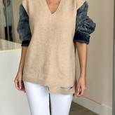 Briana Sweater with Denim Sleeves