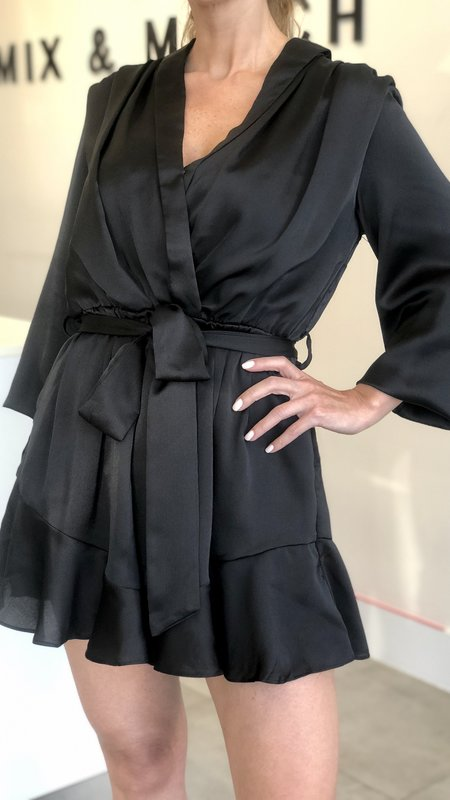 Kiana Belted Long Sleeve Romper