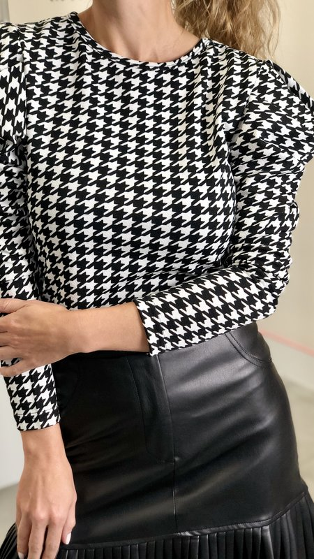 Claire Houndstooth Blouse