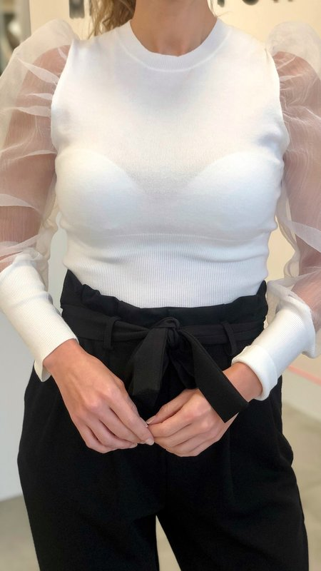 Lilly Organza Sleeve Knit top