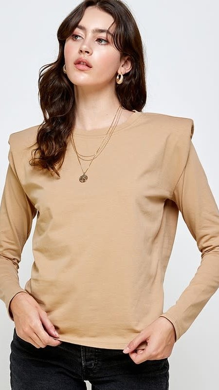 Carol Shoulder Pad Long-sleeve Top