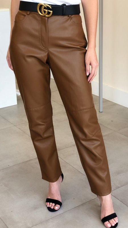 Jane Faux Leather Pants with Pockets