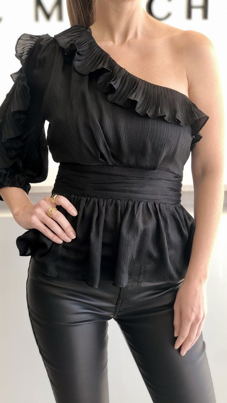 Antonia  Pleated Ruffle Detail One Shoulder Top