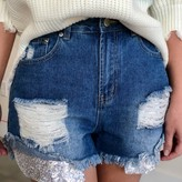 Sienna Sequin Pocket Denim Shorts